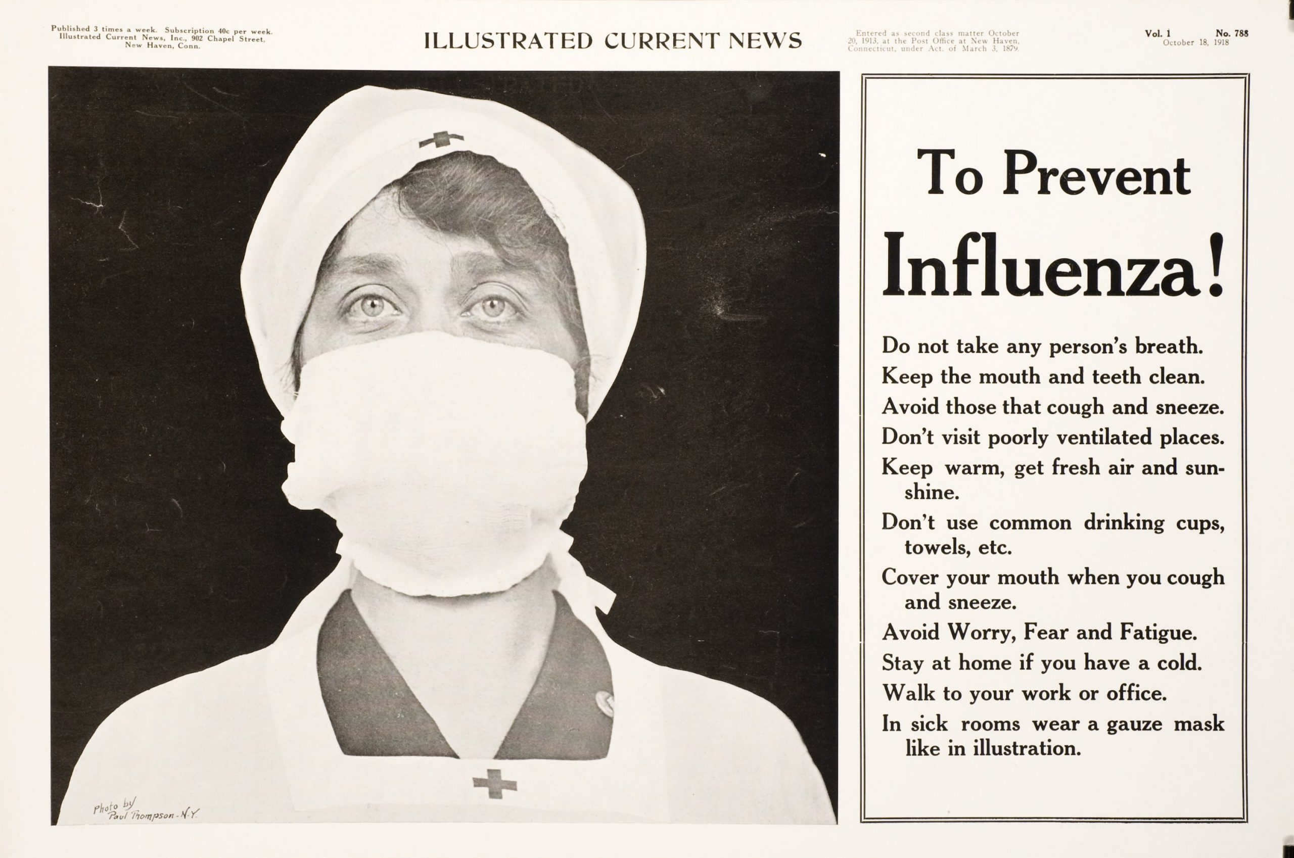The Mask and The Rules made their debut during the Spanish Flu pandemic of 1918. People accepted the recommendations for hygeine and caution as sensible, but many physicians doubted masks did any good. Opinion is still divided.