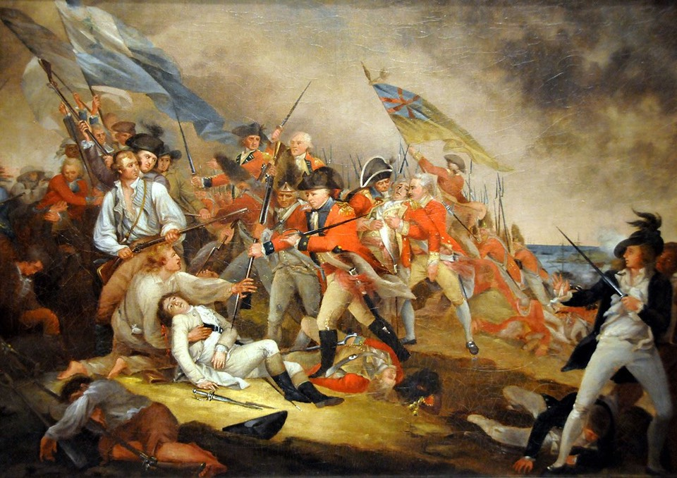 """John Trumbull's painting """"The Death of General Warren at the Battle of Bunker's Hill"""" is a dramatic and romanticized version of the event. Its depiction of a British colonel's gallant effort to shield Warren from a soldier's bayonet was a story often told, but it never happened. Years later, Colonel Small, the British officer shown making the gesture, said that by the time he saw Joseph Warren that day, he was already dead."""