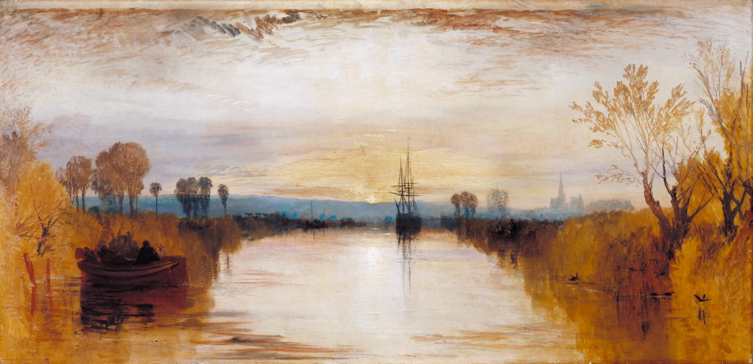 """William Turner's painting """"Chichester Canal"""" gives some idea of the eerie light that became commonplace in Britain after the Tambora eruption on the other side of the world."""