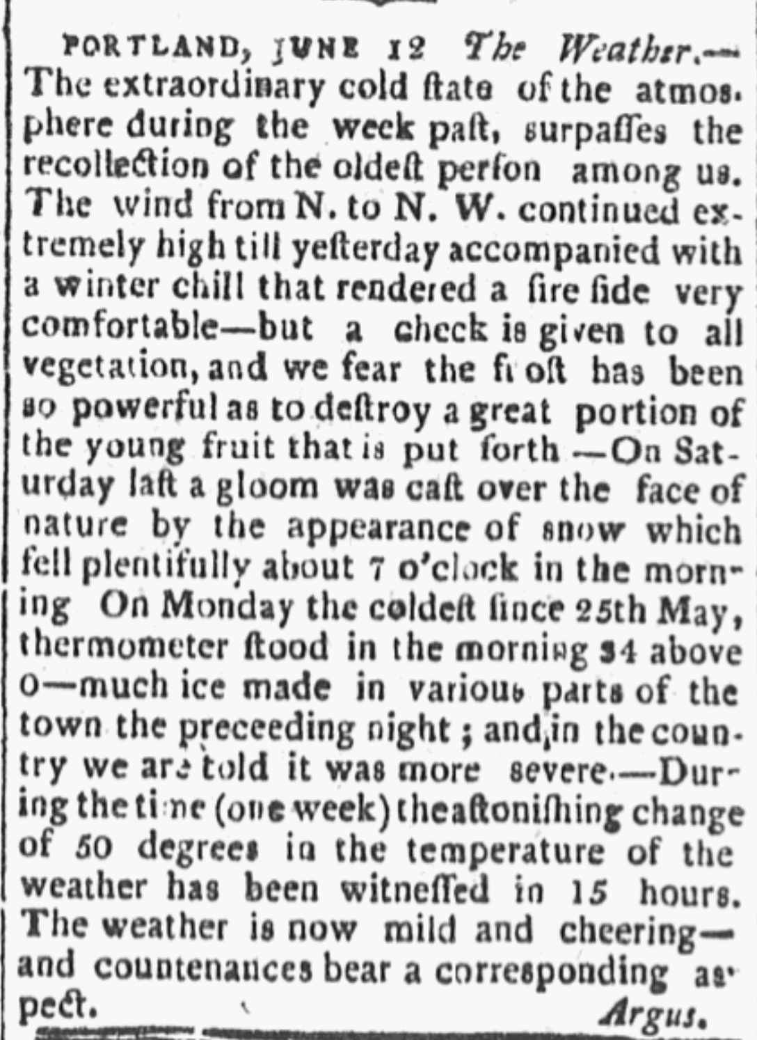 From the Boston Daily Advertiser, June 14, 1816