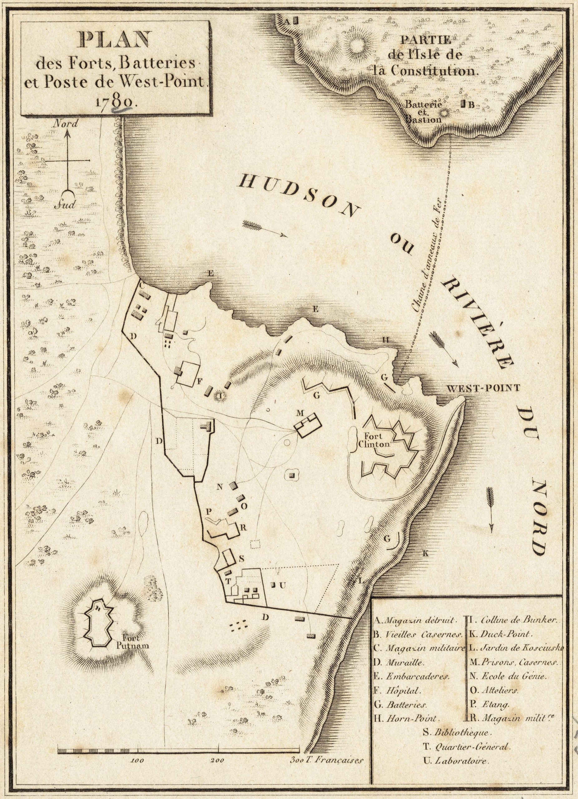 This French survey of West Point shows how its commanding heights controled the Hudson River.